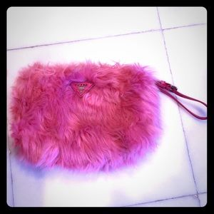 PRADA Pink Fluffy Purse with original bag!!